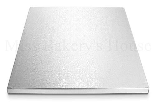 Miss Bakery\'s House® Cake Drum - 12 mm - 40x30 cm - Silber - 4 Stück - Tortenunterlage