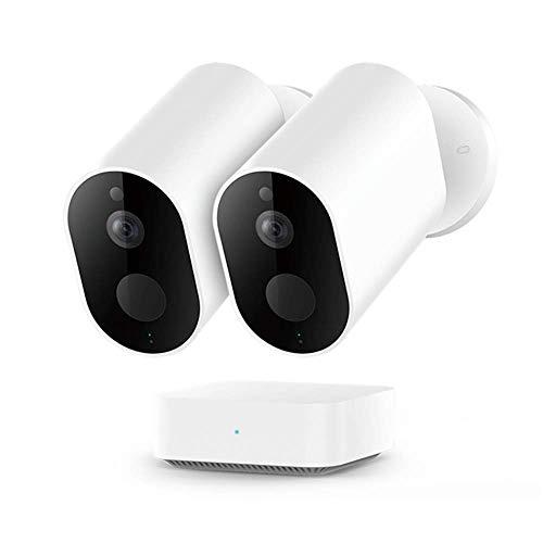 IMILAB Cámara HD EC2, WiFi inalámbrica 1080P seguridad en el hogar PIR IP65 impermeable al aire libre visión nocturna cámara de vigilancia con puerta de enlace (2 piezas con pasarela)
