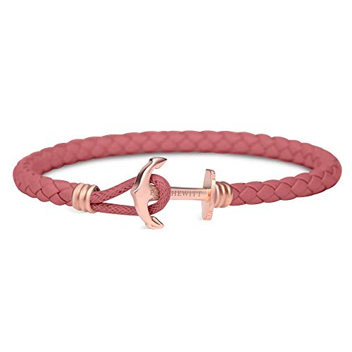 PAUL HEWITT Anker Armband Damen PHREP Lite - Leder Armband Frauen (Pink), Armband Damen mit Anker Schmuck aus IP-Edelstahl (Rosegold)