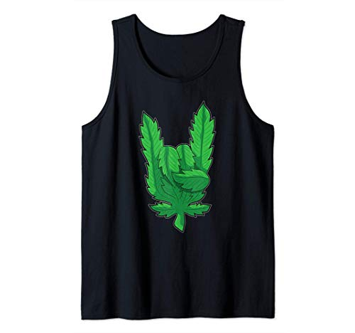 Dedos de la hoja de cannabis - Cuernos del diablo Camiseta sin Mangas