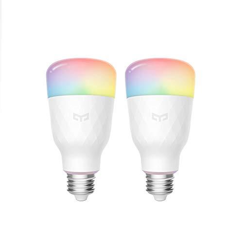 Lampadina Wifi Yeelight 16 milioni di colori E27 8.5W RGB dimmerabile 800lm Telecomando app Smart Home White Light (2-Pack)