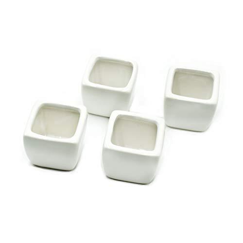 MINGZE Vaso per Pianta a Muro Bianco Ceramica Artificiali Dell'ufficio per la Decorazione Domestica e Dell'ufficio con Il Vaso di Ceramica 4pcs, vasi da fioriera in Ceramica Bianca Senza Piante