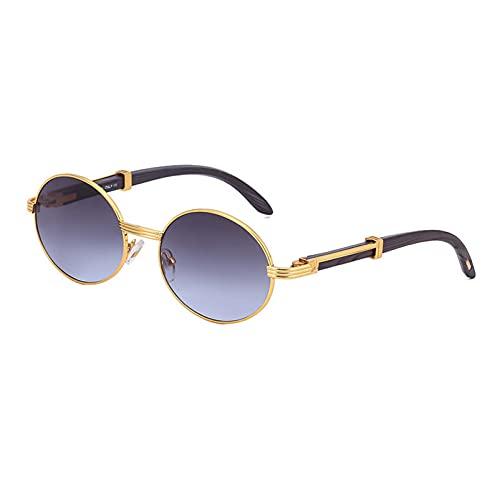AMFG Gafas de sol retro para hombres y mujeres con marco redondo, uv400, marco de metal, gafas de regalo de vacaciones (Color : G, Size : M)