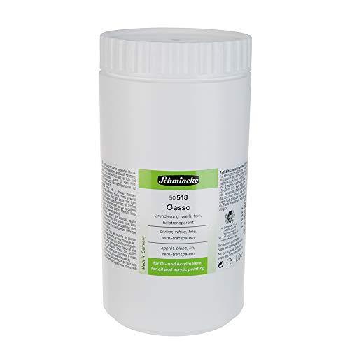 Schmincke - Gesso, 1000 ml, 50 518 051, 1 L, weiße, halbtransparente, licht- und alterungsbeständige Grundierung für Öl- und Acrylfarben, gebrauchsfertig, Grundierung für Leinwände