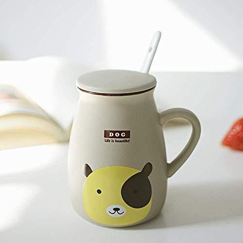 Retro Milk Cup Keramische Cup Leuke Grote Belly Kop Van De Koffie Met Cover Lepel