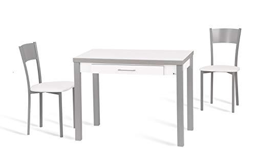 Portus Conjunto Aliso - Mesa Extensible 100(150) x60 Melamina Blanco + 2 sillas Blanco