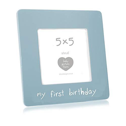 Shruti 1er anniversaire Bleu en céramique Cadre photo 12,7 x 12,7 cm