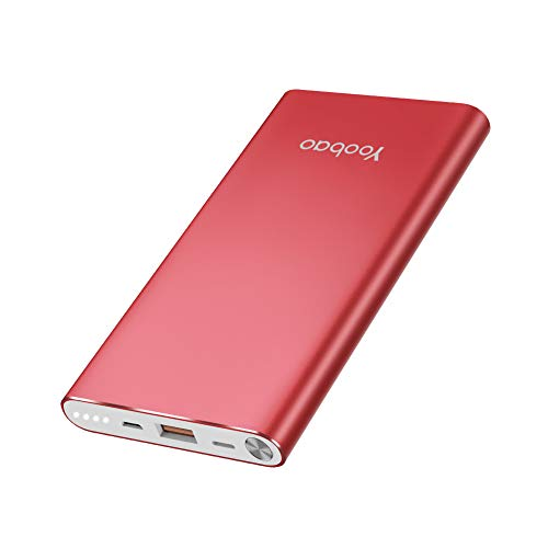 Yoobao Portable Charger 10000mAh Slim Power Bank Powerbank External Cell Phone Battery Backup Charger Battery Pack Dual Input Compatible iPhone 11 X XR Xs Max 8 7 Plus Android Samsung - Bright Red