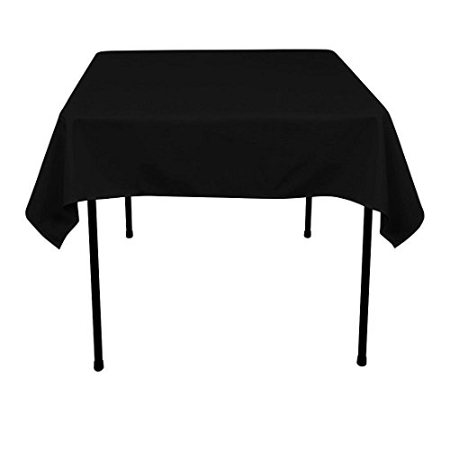 GFCC 54 x 54-Inch Seamless Black Rectangular Polyester Tablecloth for Wedding Party Decorations Square Table Cloth Cover