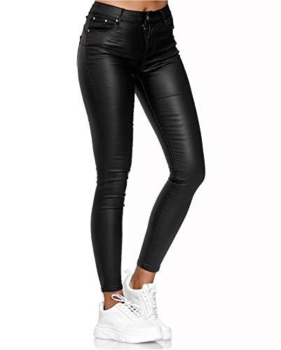 EGOMAXX Damen Leder Hose Imitat Push Up Classic Skinny Coated Biker Pants, Farben:Schwarz-2, Größe:38