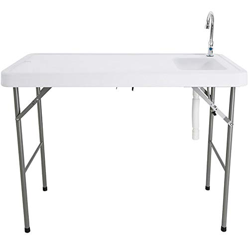Outdoor Portable Camping Folding Table with Sink Faucet, Fish Fillet Hunting Table Camp Kitchen Equipment Picnic Camping Garden Party