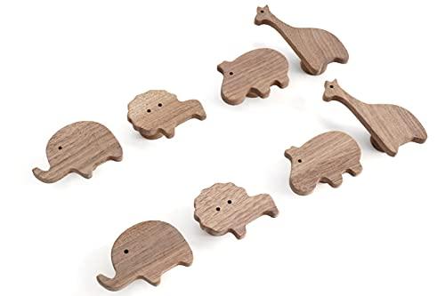 4 tiradores de madera de nogal sin tratar para muebles infantiles, 4 unidades, diseño de elefante, león, hipopótamo jirafa