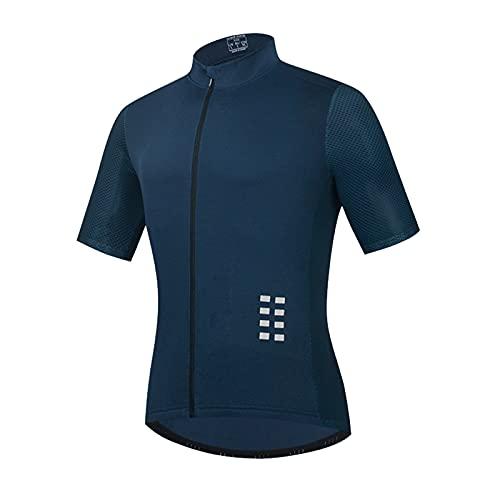 Hombres Ciclismo Jersey,reflexivo Manga Cortacon Bosillos,Transpirable Secado Rápido Bicicletas Ropa MTB Camisa Verano Montaña Bicicleta Ropa,Azul,M