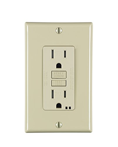 Leviton S7599-I 15 Amp, Self-Test GFCI, Wallplate Included, SmartLockPro, Back and Side Wired, Tamper Resistant, Ivory