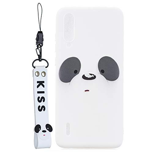 HopMore Compatible con Funda Xiaomi Mi A3 Silicona con Cordón Dibujos Diseño Divertidas Carcasa Resistente Kawaii TPU Case Fina Antigolpes Caso Gracioso - Panda Blanca
