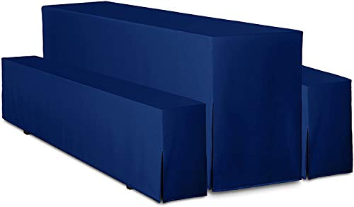 TexDeko Bierbankhussen Premium - Juego de 3 fundas para mesa alargada (80 cm, azul)