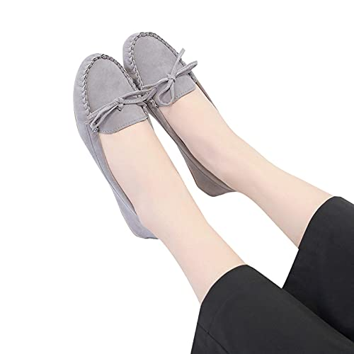 Women'S Fashion Sneakers Suede Round Toe Flat Bowknot Set Foot Women'S Casual Shoes Breathable Casual Sneakers 37-42