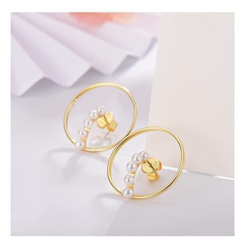Pendientes Pendientes de pernos de perlas S925 incrustaciones de plata de plata de agua dulce Pendientes de perlas de agua 3-4mm Pendientes redondos blancos Pendientes de bola para mujer ( Color : A )