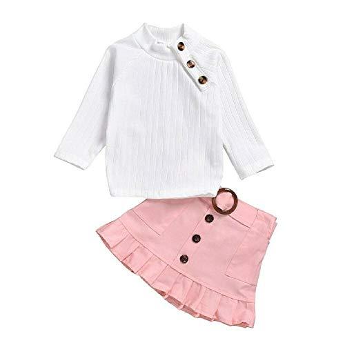 LIZHAN Baby Kinder Mädchen Kleidung Winter Strick Tops Shirt + Knopf Mini Rock Warm Outfits Gr. 3 Jahre, Rose