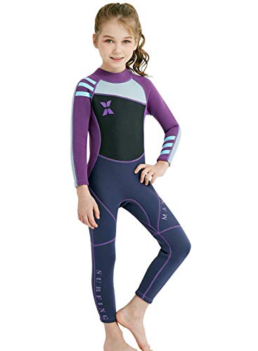"""Neoprene Kids Wetsuit for Boys Girls 2.5MM One Piece Full Body Long Sleeve Swimsuit, UV Protection Keep Warm for Scuba Diving Snorkeling Swimming Fishing Surfing (Girls Purple, M (Height 41""""-45""""))"""