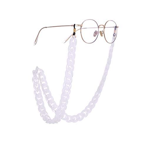 Fishhook - Cadena acrílica retro para gafas de vista y gafas de lectura para evitar que se caigan, enganche de goma negra, cordón, para mujeres y hombres Transparente