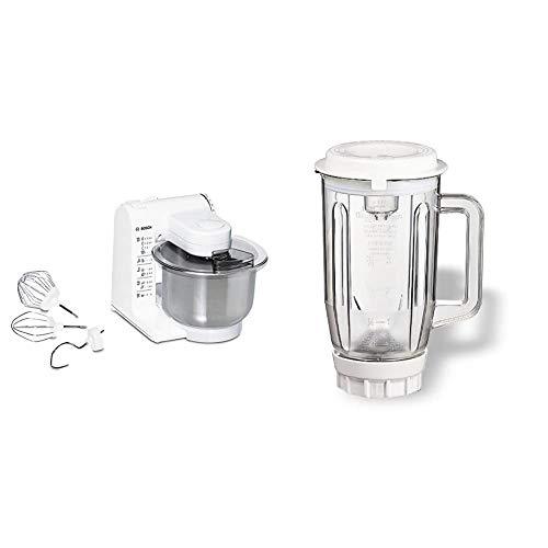 Bosch MUM4407 Küchenmaschine MUM4 (3.9 Liter) weiß & MUZ4MX2 Mixer-Aufsatz Kunststoff