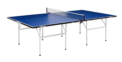 JOOLA Tischtennistisch 300-S-Indoor Freizeit Tischtennisplatte Einklappbares Untergestell - Schneller Aufbau Platzsparend Aufbewahrbar, Blau, 15 mm Plattenstärke