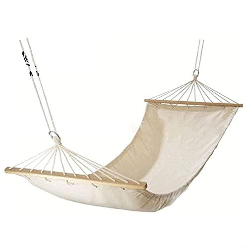 Bärbar rekreation Ren vit duk hängmatta 100% bomull duk utomhus hängmatta med träpinne kanfas enkel dubbel hängmatta gåvor