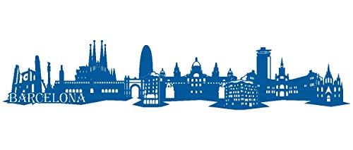 Samunshi® Barcelona Skyline Wandtattoo in 6 Größen und 19 Farben (120x24cm Enzian)