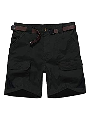 Jessie Kidden Men's Stretch Hiking Shorts Outdoor Quick Dry Elastic Waist Fishing Camping Casual Tactical Cargo Shorts (6018 Black 34)