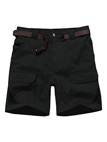 """Jessie Kidden Women's Stretch Cargo Shorts, Quick Dry Elastic Waist 7"""" Inseam Casual Shorts for Outdoor Hiking, Camping, Travel (2105 Black, 32 (US 10))"""