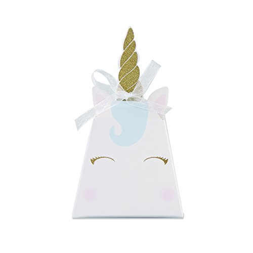 Kate Aspen Unicorn Fantasy Party Favor Box (Set of 12), Cardstock, One Size, White, Gold, Pink And Blue