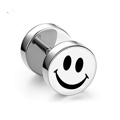 金桥No es fácil de alérgicos pendientes de hombre con barra de acero de titanio pendientes con mancuernas de moda negro-cara sonriente