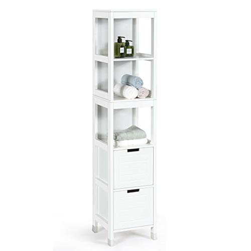 Tangkula Tall Bathroom Storage Cabinet, Multifunctional Bathroom Floor Cabinet with 3 Tier Shelves and 2 Drawers, Wooden Free-Standing Tower Rack (White)