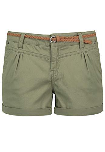 Sublevel Damen Kurze Hose Stretch-Shorts mit Flecht-Gürtel Middle-Green M