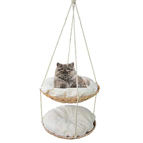 Double-layer Cat Nest Cat Hammock Hanging Litter Removable And Washable Cat Swing Cat Tree Jumping Platform Cat Supplies Hanging Bed Hand-woven