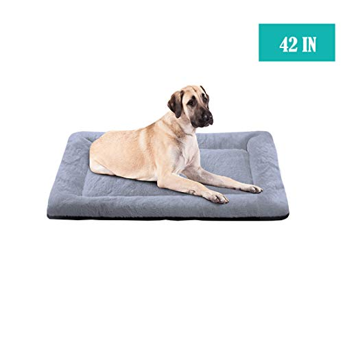 PETCIOSO Summer Super Soft Dog & Cat Crate Bed -Fluffy Pet Bed All Season-Machine Wash & Dryer Friendly-Anti-Slip Pet Beds(NOT for Chewer)(42in,Grey) Beds launched Newly pets