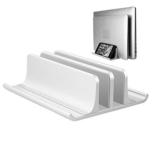 U/N Soporte Vertical Doble Ajustable para computadora portátil, Soporte Doble de Escritorio de Aluminio de 2 Ranuras de Nuevo diseño (hasta 17,3 Pulgadas), se Adapta a Todos los MacBook/Surface