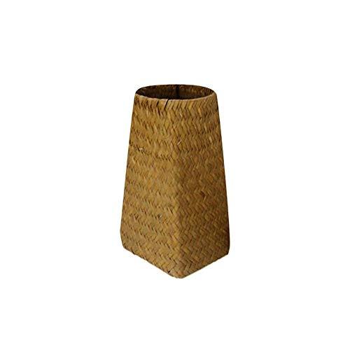 N/A Rokauy - Jarrón de mimbre para piso alto, tejido a mano, diseño de flores nórdicas, color primario