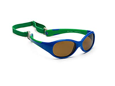 Gafas de sol para koolsun Baby Flex Joven 0 – 3 AñOS, Royal & Green |100% protección UV | con desmontable Diadema | Optical Clas 1, cat. 3