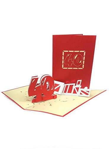 Carte de vœux pop-up 3D pour 40e anniversaire faite à la main - Joyeux anniversaire, anniversaire de mariage, amitié, joyeux Noël, Thanksgiving, remerciement, bonne chance, bonne année, Saint Valentin