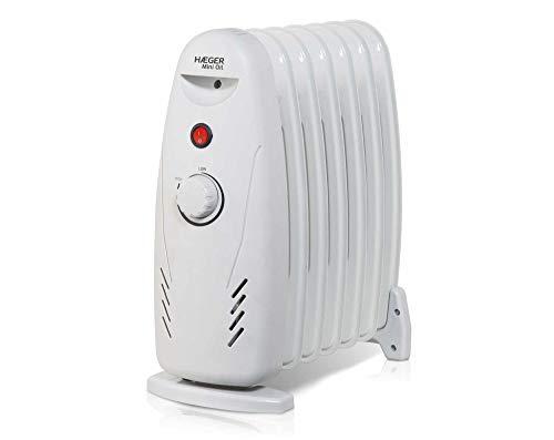 HAEGER Mini Oil - Radiador eléctrico de Aceite (7 Finos) de 600 W, con 7 Elementos (125 x 320mm), botón de Encendido/Apagado y termostato...