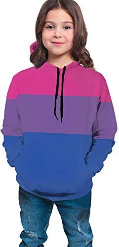 dgfgad Kapuzenpulli Hooded Youth Sweatshirt Boys Girls 3D Print Transparent Bi Flag Pullover Hoodies Hooded Sweatshirts Tops Blouse with Pocket