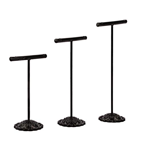 Sdootjewelry Earring T Stand, 3 Pcs Metal Earring Display T Shape Stand Holder Showcase Displays, Black