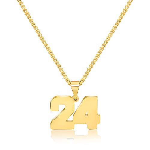 JSJOY Personalized Number 24 Necklace for Boys Men Girls Charms Pendant Necklaces for Teen Girl Best Friend