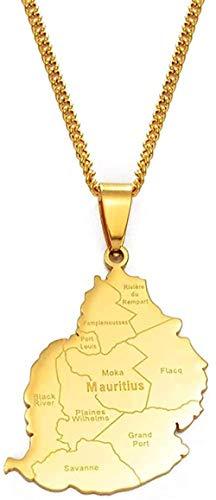 banbeitaotao Collar 3 5Cm Mauricio Mapa Pueblo Collares Pendientes Mujeres Hombres Color Dorado Mauricio África Joyería Regalos