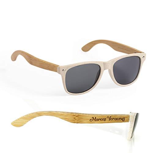 Gafas de Sol Personalizadas con Nombre o Texto Personalizables - Gafas Linea Nature de Plástico y Madera de Bambú Originales UV400