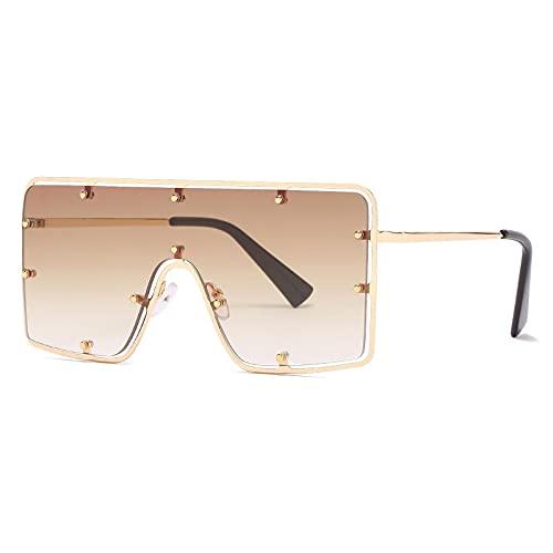Gafas De Sol Gafas De Sol De Una Pieza Sin Montura De Gran Tamaño para Mujer, Gafas De Sol con Remaches Vintage, Gafas Cuadradas Steampunk para Hombre, Uv400 C5, Marrón Dorado