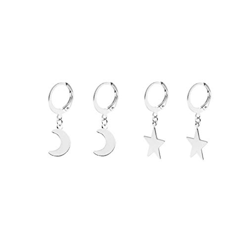 2PC Small Stars Moon Hoop Earrings,Cute Gold/Silver Mini Huggie Hoop Dangle Earrings for Women Simple Ear Piercing Chic Jewelry for Teen Girls Men (B:2 Pairs Silver)