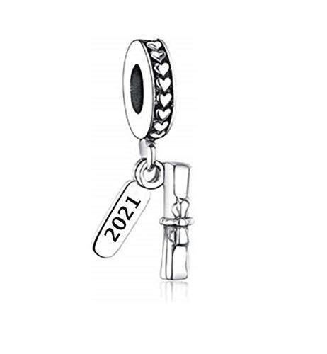 Diploma de graduación 2021 Diploma Pergamino Colgante de plata de ley 925 para pulseras o collares